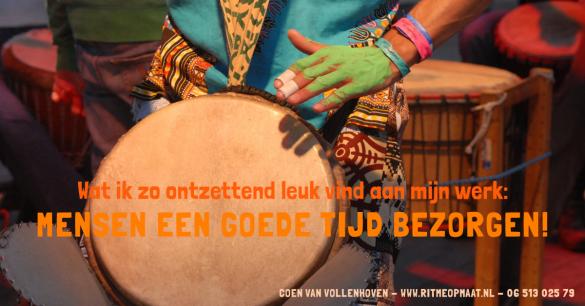 www.ritmeopmaat.nl - percussionist Coen van Vollenhoven wil mensen met Afrikaans trommelen een goede tijd bezorgen