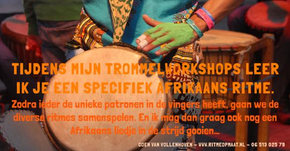 www.ritmeopmaat.nl - tijdens de trommelworkshop leer je met elkaar verschillende Afrikaanse ritmes samenspelen.